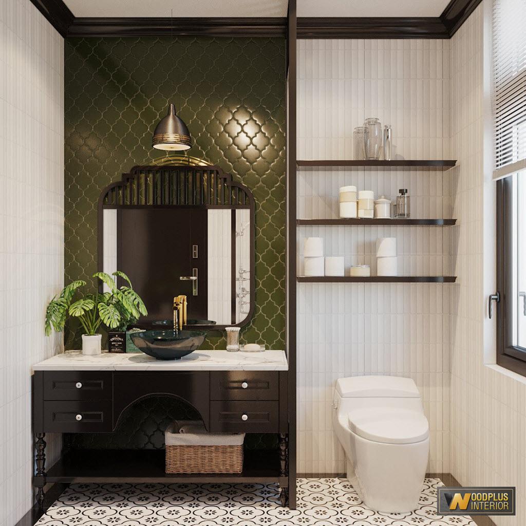 Thiết kế phòng vệ sinh tiện nghi, sang trọng tạo cảm giác spa tại nhà trong căn biệt thự phong cách Indochine