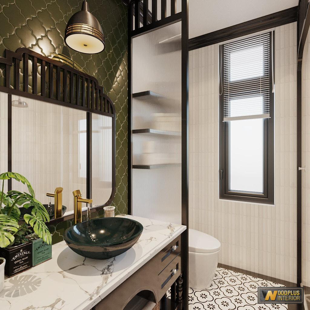 Phòng tắm phong cách Indochine với thiết bị vệ sinh cao cấp