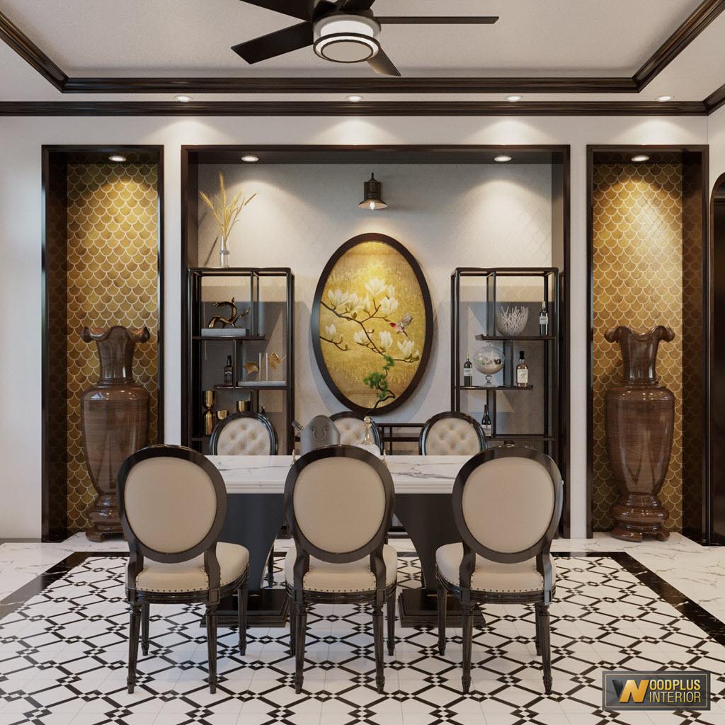 Bộ bàn ăn biệt thự phong cách Indochine sang trọng đẹp mắt