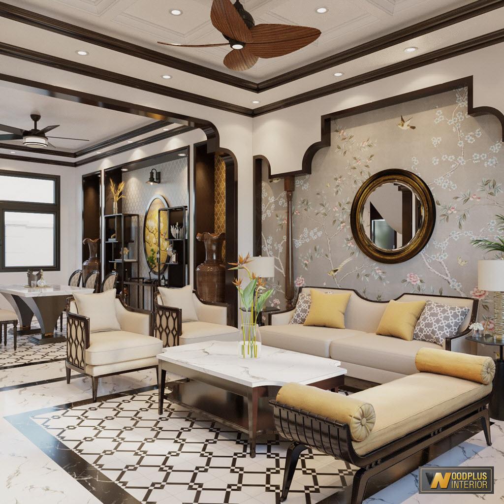 Không gian liên thông giữa phòng khách và phòng ăn liền một thể trong căn biệt thự phong cách Indochine ấn tượng