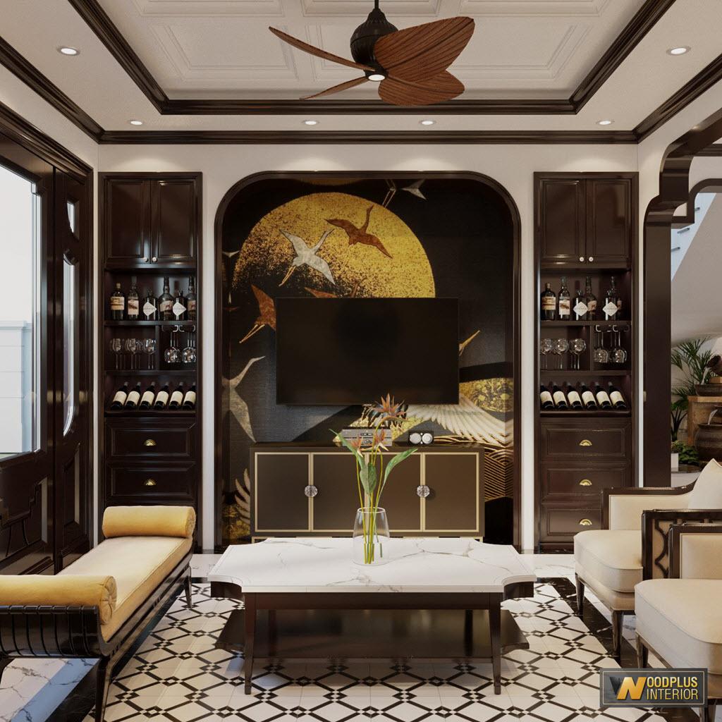 Hệ tủ rượu và kệ ti vi tinh tế trong phong cách Đông Dương