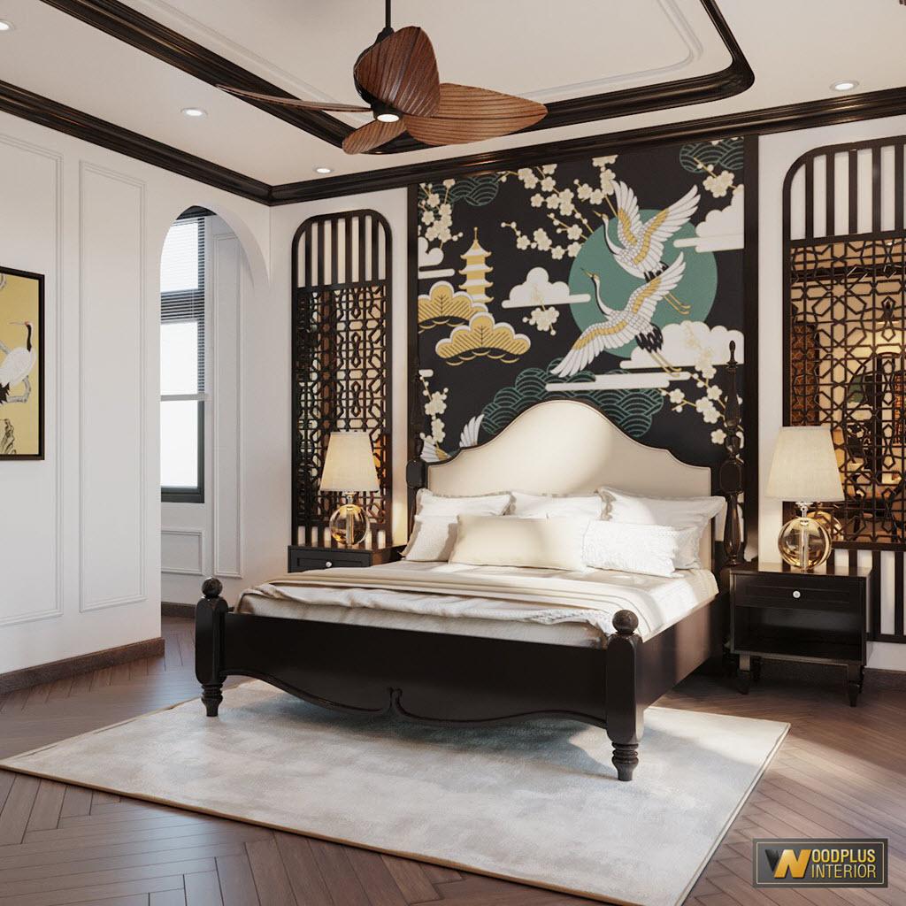 Phòng ngủ master phong cách Indochine biệt thự tinh tế