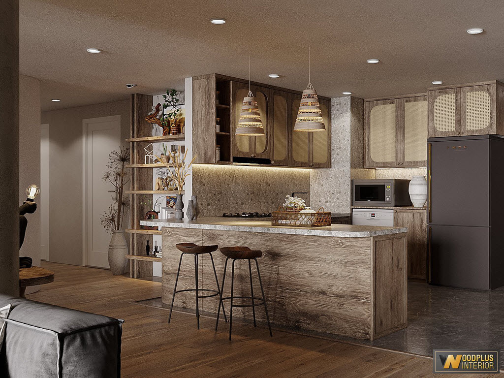 Không gian phòng bếp mộc mạc tự nhiên theo phong cách wabi sabi