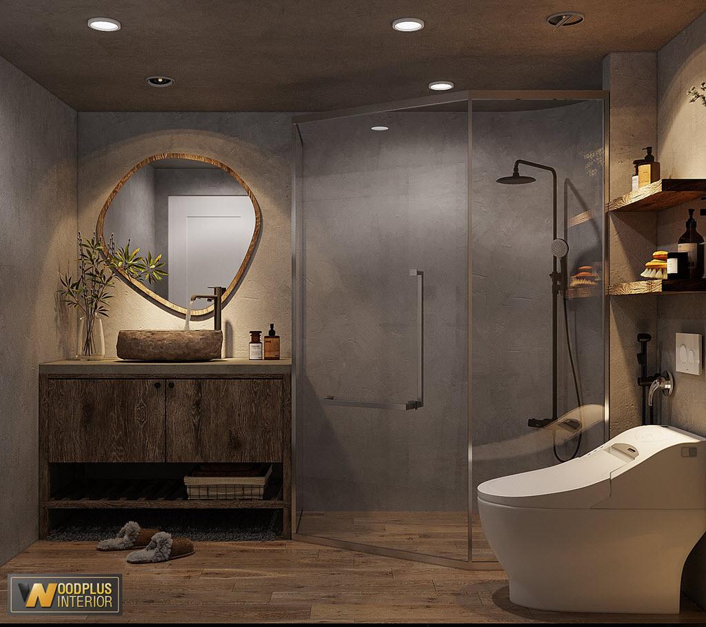 Phòng vệ sinh lạ mắt trong phong cách nội thất wabi sabi thô mộc