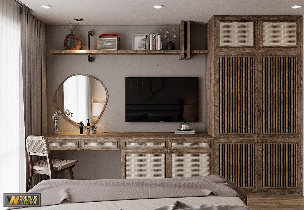 Kết hợp hài hòa giữa bàn làm việc, bàn trang điểm và tủ tivi trong cùng hệ tủ phong cách wabi sabi