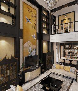 Thiết kế nội thất biệt thự phong cách Indochine phòng khách tinh tế gia đình chị Hồng Vân