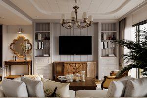 Thiết kế nội thất phong cách Country House phòng khách chị Liên